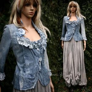 DIÁNA - shabby chic design kabátka / kék - ruha & divat - női ruha - kabát - Meska.hu