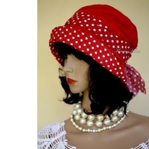 """MALINKA - sikkes nyári vászon kalap, Ruha & Divat, Sál, Sapka, Kendő, Kalap, Varrás, Az 1920-as évek flapper divatja köszön vissza \""""Malinka\"""" fantázianevű romantikus design-kalapjaimon.\n..., Meska"""