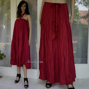 CHERRY SELYEMSZOKNYA - körgloknis hosszú-szoknya, ruha , Ruha & Divat, Női ruha, Szoknya, Varrás, Mosással-gyűrt acetát-selymekből készült darabjaim nyári ruhatárad kedvencei lehetnek!\n\nKényelmes, g..., Meska