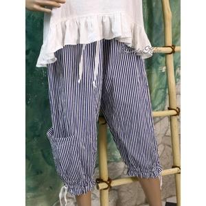 LOVECHILD - bokazsebes lagenlook nadrág, bugyogó, Ruha & Divat, Női ruha, Nadrág, Varrás, Csíkos könnyű pamutvászonból készült, bokazsebes, fodros aljú modellem ruháim, tunikáim kísérőjének ..., Meska