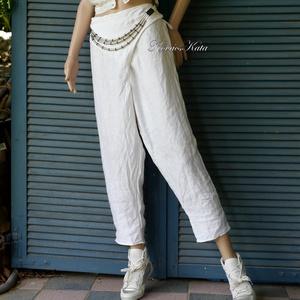 ÁTLAPOLÓS jacquard lenvászon nadrág, Ruha & Divat, Női ruha, Nadrág, Varrás, Különleges jacquard 100% lenvászonból készült ez az egyedi szabású nadrágom.\nHófehér színű, lefelé s..., Meska