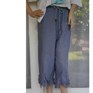 LEVELES LEN-NACI - shabby design nadrág, Ruha & Divat, Női ruha, Nadrág, Varrás, Farmerkék színű vintage lenvászonból készült ez a kényelmes, állítható-gumis derekú nadrágom. \nA szá..., Meska
