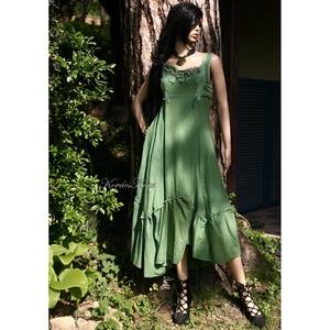 FIONNA ruha - romantikus artsy design hosszú-ruha, Ruha & Divat, Női ruha, Ruha, Festett tárgyak, Varrás, Rusztikus, puha pamutvászonból terveztem, átmenetesen fenyő-zöldre festettem ezt a nőies modellemet...., Meska