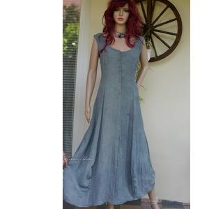 STEFÁNIA - romantikus design-ruha / penész-zöld, Ruha & Divat, Női ruha, Ruha, Festett tárgyak, Varrás, Meska