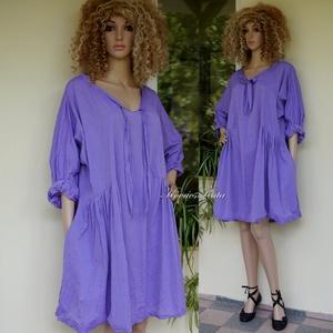 PAULA / lila puplin - lagenlook design tunika, Ruha & Divat, Női ruha, Tunika, Könnyű, finom lila puplinból készült, oldalt húzott tunika-ruha V-kivágással, oldalába rejtett zsebe..., Meska