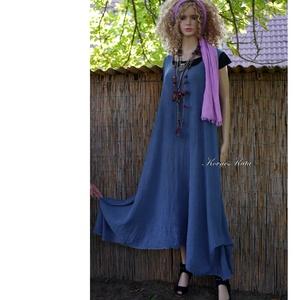 KIM - kötényruha, plázs-ruha, gézruha / tengerész-kék - ruha & divat - női ruha - ruha - Meska.hu