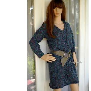 LIZA -bukléruha - kézzel kötött pulóver-ruha / cirmos buklé, Ruha & Divat, Női ruha, Pulóver & Kardigán, Kötés, Meska
