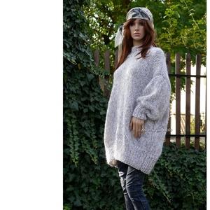 MAXI-MIX - oversized kézzel kötött pulóver ruha / világos-szürke, Ruha & Divat, Női ruha, Pulóver & Kardigán, Kötés, Meska