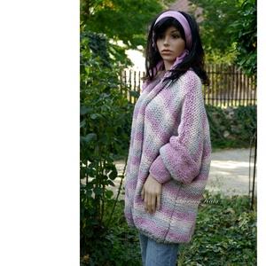 JÚLIA KABÁTKA - trendi kézzel kötött kardigán, poncsó - ruha & divat - női ruha - pulóver & kardigán - Meska.hu