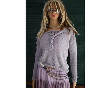 BABY ALPAKA SILK PULCSI - kézzel kötött exkluzív artsy-design pulóver / ALBA hamuszürke, Ruha & Divat, Női ruha, Pulóver & Kardigán, Kötés, Meska