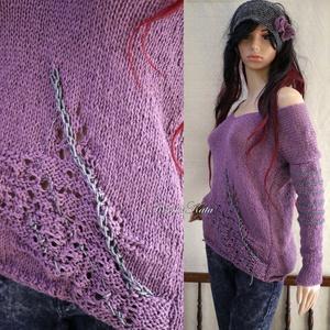 BABY ALPAKA SILK PULCSI - kézzel kötött exkluzív artsy-design pulóver / ALBA hanga - Meska.hu