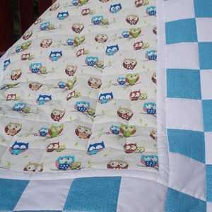 Patchwork takaró és párna (kék-baglyos) - Meska.hu