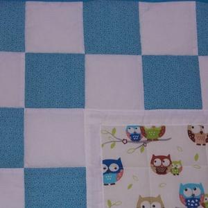 Patchwork takaró és párna (kék-baglyos) - otthon & lakás - lakástextil - Meska.hu