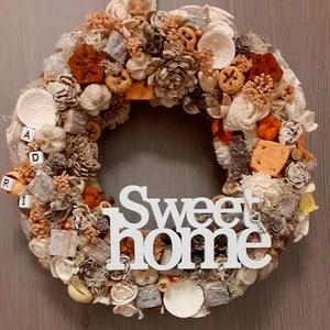 Sweet home  Ajtódísz, Kopogtató,  Barna, Sárga, Bézs Pasztell, Natúr, Ajtódísz & Kopogtató, Dekoráció, Otthon & Lakás, Virágkötés, Mindenmás, Egyedi kézzel készített ajtódísz. A kopogtató készítésekor törekedtem természetes alapanyagokat hasz..., Meska