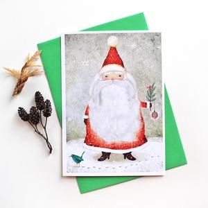 Mikulás - Képeslap borítékkal (A/6), Karácsony & Mikulás, Mikulás, Fotó, grafika, rajz, illusztráció, A/6-os méretű képeslap, zöld borítékkal.\n\n250 grammos, szuperfényes, kiváló minőségű papírra van nyo..., Meska
