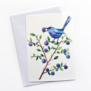 Kökényevő madárka - Képeslap borítékkal (A/6) (bubadesign) - Meska.hu