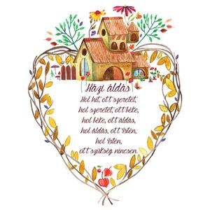 Házi áldás - Print (Akvarell), Otthon & Lakás, Spiritualitás & Vallás, Házi áldás, Fotó, grafika, rajz, illusztráció, Az eredeti illusztráció akvarellel készült, a print jó minőségű, kreatív papírra van nyomtatva.\n\nAz ..., Meska