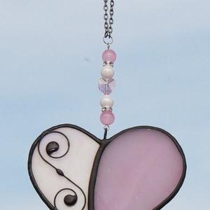 Rózsaszín Tiffany szív Anyák napjára, Otthon & Lakás, Dekoráció, Ablakdísz, Üvegművészet, Tiffany technikával készített üveg szív. \nFehér színű irrizáló üvegből és rózsaszín üvegből készült...., Meska