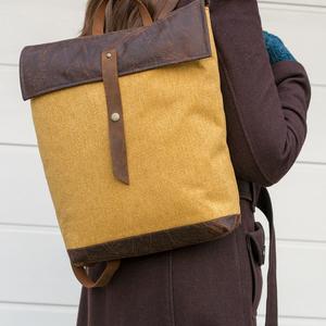 NINOX kollekció - mustársárga szövet-barna bőr hátizsák, Minimál hátizsák (buboxa) - Meska.hu