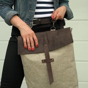 NOCTUA kollekció - barna-bézs szövet-barna bőr hátizsák, oldal-, vagy válltáska (buboxa) - Meska.hu