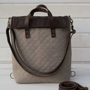 NOCTUA MINI kollekció - barna-bézs szövet-barna bőr hátizsák, oldal-, vagy válltáska (buboxa) - Meska.hu