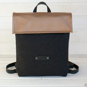 NINOX MINI kollekció - bronz-fekete, anyagában steppelt szövet-fekete bőr hátizsák, Minimál hátizsák (buboxa) - Meska.hu