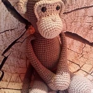Horgolt Majom, Majom, Plüssállat & Játékfigura, Játék & Gyerek, Horgolás, A majom mérete 27x11cm\nMinőségi pamutfonalból készült hipoallergén tömőanyaggal és biztonsági szemek..., Meska
