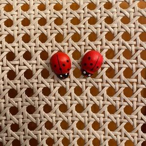 Bedugós katica formájú fülbevaló, Ékszer, Fülbevaló, Lógós fülbevaló, Ékszerkészítés, Festett tárgyak, A festett kis katicabogarakhoz beszúrós fülbevaló alapot illesztettem. \nZárásként színtelen lakkot k..., Meska