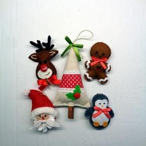 Mikulás, fenyőfa, Rudi, pingvin, mézeskalács dekorációs csomag  , Otthon & lakás, Dekoráció, Ünnepi dekoráció, Karácsony, Karácsonyfadísz, Karácsonyi dekoráció, Naptár, képeslap, album, Ajándékkísérő, Varrás, Horgolás, Sok szeretettel és aprólékos munkával készítettem díszeimet gyapjúfilcből, barkácsfilcből és pamutvá..., Meska