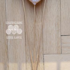 Horgolt 3D amigurumi szív pálcán - türkiz, Helyszíni dekor, Dekoráció, Esküvő, Horgolás, Az amigurumi technikával horgolt 3D-s szíveket vlies tömőanyaggal töltöttem és hurkapálcára rögzítet..., Meska