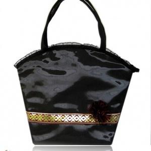 SIKK - Tükörfényű fekete táska egy kis bordóval és arannyal (byBERNA) - Meska.hu
