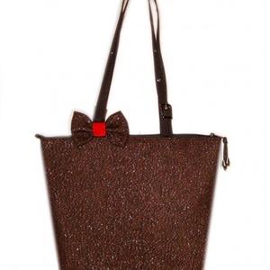 CITY - Csokibarna  tweedszövet  táska (byBERNA) - Meska.hu
