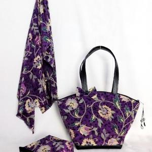 Lila virágos táska nesszeszer és sál, Táska, Táska, Divat & Szépség, Válltáska, oldaltáska, Varrás, Elegáns, dekoratív, egyedi\n\nA szép formájú lila virágos textilből, az alja,(talpa) és a táskafülek f..., Meska