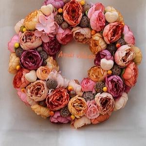 Selyemvirág kopogtató, Otthon & lakás, Dekoráció, Lakberendezés, Ajtódísz, kopogtató, Virágkötés, Csupa selyemvirág ajtódísz terrakotta színekben. Átmérője: 32 cm., Meska