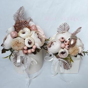 Ajándékdobozok, Szülőköszöntő ajándék, Emlék & Ajándék, Esküvő, Virágkötés, Változó méretű papírboxba pasztell - rosegold selyemvirág, szárazvirág, kerámia díszelemek felhaszná..., Meska