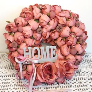Ajtódísz kopogtató koszorú, Otthon & Lakás, Dekoráció, Ajtódísz & Kopogtató, Virágkötés, Csupa-csupa málna selyemvirág . A kopogtató, dekorációs koszorú átmérője 30 cm. , Meska