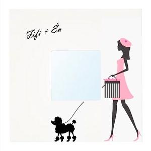 """Előszoba tükör / Póráztartó \""""Fifi +Én\"""", Otthon & lakás, Dekoráció, Lakberendezés, Állatfelszerelések, Kutyafelszerelés, Képkeret, tükör, Festészet, Szereted a kutyás dolgokat? Akkor ez a tükör neked lett kitalálva! Ha csak egy utolsó pillantást vet..., Meska"""