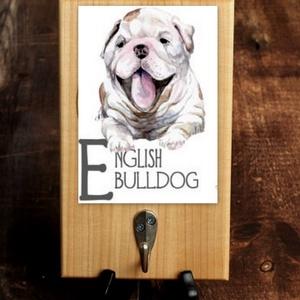 """Póráztartó \""""angol bulldog\"""", Otthon & lakás, Dekoráció, Lakberendezés, Állatfelszerelések, Kutyafelszerelés, Tárolóeszköz, Mindenmás, Aranyos póráztartó kölyökkutyával. \nDekupázsolva., Meska"""