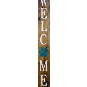 Welcome tábla kutyatappancsal, Otthon & lakás, Dekoráció, Lakberendezés, Állatfelszerelések, Kutyafelszerelés, Utcatábla, névtábla, Famegmunkálás, Festett tárgyak, Köszöntő tábla kutyásoknak, vagy kutyát kedvelőknek. Támasztható kivitelben készül, amelyet a bejára..., Meska