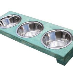 Pimpa 3-as etető, Otthon & lakás, Lakberendezés, Állatfelszerelések, Kutyafelszerelés, Tárolóeszköz, Bútor, Famegmunkálás, Festett tárgyak, 3-as etető kisebb testű kutyák számára. Ahol két kutyus etetéséről kell gondoskodni, célszerű a két ..., Meska