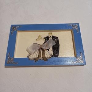 Esküvői képkeret, Esküvő, Emlék & Ajándék, Decoupage, transzfer és szalvétatechnika, Fa , különleges esküvői képkeret. Lehet gyűrűtartó vagy pénzátadó. Később használható falidíszként v..., Meska