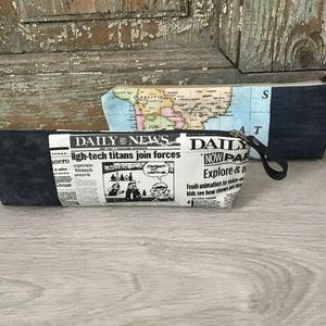 Tolltartó, vászon -farmer bérelt tolltartó, ajándék pedagógus napra, térkép mintás tolltartó  (BYildi) - Meska.hu