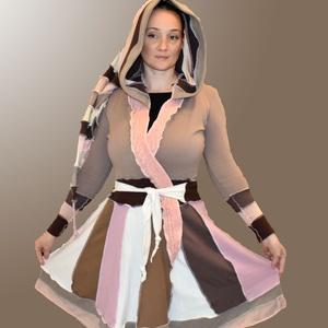Bohém stílusú kabátka - közepes hosszúságú 36-os méret, Táska, Divat & Szépség, Női ruha, Ruha, divat, Poncsó, Kabát, Varrás, Újrahasznosított alapanyagból készült termékek, Közepes hosszúságú bohém kabátka, de kardigánként is használható.\nÚjrahasznosított pulóverekből, mel..., Meska