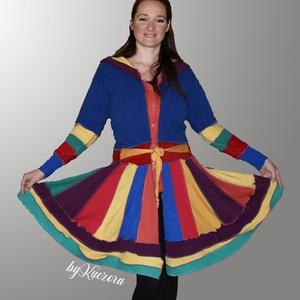 Bohém stílusú kabátka - közepes hosszúságú 40-es méret, a szivárvány színeiben, Táska, Divat & Szépség, Női ruha, Ruha, divat, Poncsó, Kabát, Varrás, Újrahasznosított alapanyagból készült termékek, Közepes hosszúságú bohém kabátka, de kardigánként is használható.\nÚjrahasznosított pulóverekből, mel..., Meska