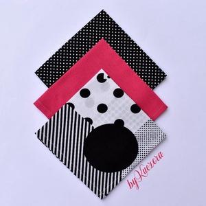 Textil zsebkendő szett, öko zsebkendő szett - Pink-fekete-fehér, Táska, Divat & Szépség, Szépség(ápolás), Egészségmegőrzés, Fürdőszobai kellék, NoWaste, Textilek, Kendő, Varrás, Textil zsebkendő - öko zsebkendő -  Pink-fekete-fehér\n\nFinom pamutvászonból készült zsebkendő szett,..., Meska