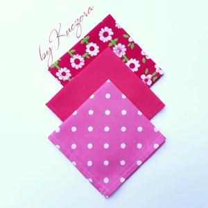 Textil zsebkendő szett, öko zsebkendő szett - pink, Táska, Divat & Szépség, Szépség(ápolás), Egészségmegőrzés, Fürdőszobai kellék, NoWaste, Textilek, Kendő, Varrás, Textil zsebkendő - öko zsebkendő - pink\n\nFinom pamutvászonból készült zsebkendő szett, mely 3 darabb..., Meska