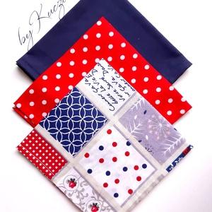 Textil zsebkendő szett, öko zsebkendő szett - Piros, kék, fehér, Táska, Divat & Szépség, Szépség(ápolás), Egészségmegőrzés, Fürdőszobai kellék, NoWaste, Textilek, Kendő, Varrás, Textil zsebkendő - öko zsebkendő -  Piros, kék, fehér\n\nFinom pamutvászonból készült zsebkendő szett,..., Meska