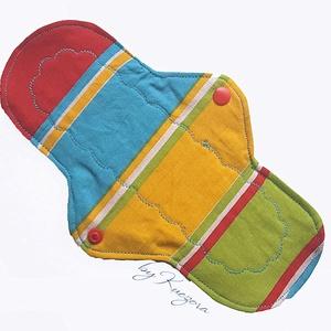 24 cm-es mosható intim betét, női betét, menstruációs betét - kék, zöld, piros, sárga - , Táska, Divat & Szépség, Szépség(ápolás), Egészségmegőrzés, Fürdőszobai kellék, NoWaste, Textilek, Varrás, 24 cm-es mosható intim betét, női betét, klasszikus piskóta fazon - kék, zöld, piros, sárga\n\nTest fe..., Meska