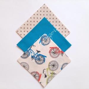 Textil zsebkendő szett, öko zsebkendő szett - türkiz, bézs, bicikli, kerékpár, Táska, Divat & Szépség, Szépség(ápolás), Egészségmegőrzés, Fürdőszobai kellék, NoWaste, Textilek, Kendő, Varrás, Textil zsebkendő - öko zsebkendő -  türkiz, bézs, bicikli, kerékpár\n\nFinom pamutvászonból készült zs..., Meska
