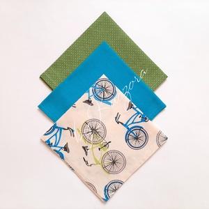 Textil zsebkendő szett, öko zsebkendő szett - türkiz, bézs, zöld, bicikli, kerékpár, Táska, Divat & Szépség, Szépség(ápolás), Egészségmegőrzés, Fürdőszobai kellék, NoWaste, Textilek, Kendő, Varrás, Textil zsebkendő - öko zsebkendő -  türkiz, bézs, zöld, bicikli, kerékpár\n\nFinom pamutvászonból kész..., Meska